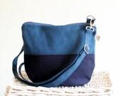 Daily Canvas Cross Body Bag - Teal Navy colors Messenger Bag - Two Tones Bag - Small Bag - Travel Bag - Long crossbody strap - everyday bag