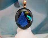 Dichroic Fused Glass Oval Pendant - Blue Green Gold Dichroic on Black Glass