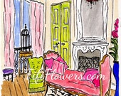 Red Chandelier Pink Chaise