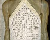 Vintage 70s 2pc White Crochet Hippie Halter Full Length Dress & Jacket Small