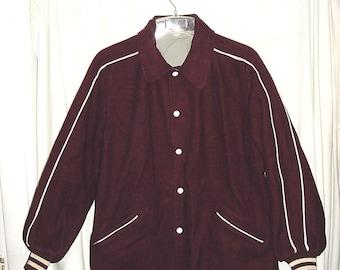 Vintage 70s High School Letter Jacket Maroon White 42 Reversible BC
