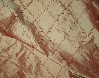 Embroidered Silk DUPIONI Fabric - Reddish brown Diamond Vines - fat 1/4