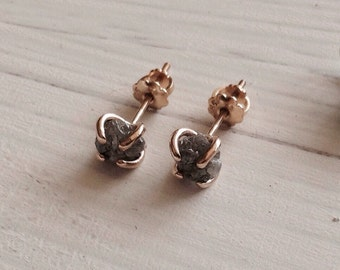 Diamond 14kt Gold Earrings Studs Natural 1.5 Plus Carat Uncut Rough Prong  Post  April Birthstone