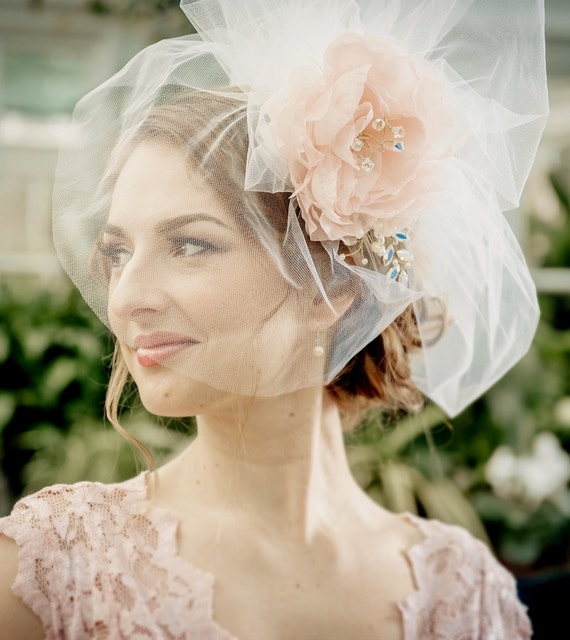 WEDDING VEIL  bridal short bubble veil LUCIA with detachable handmade silk flower, Swarovski crystals rhinestones pearls made to order