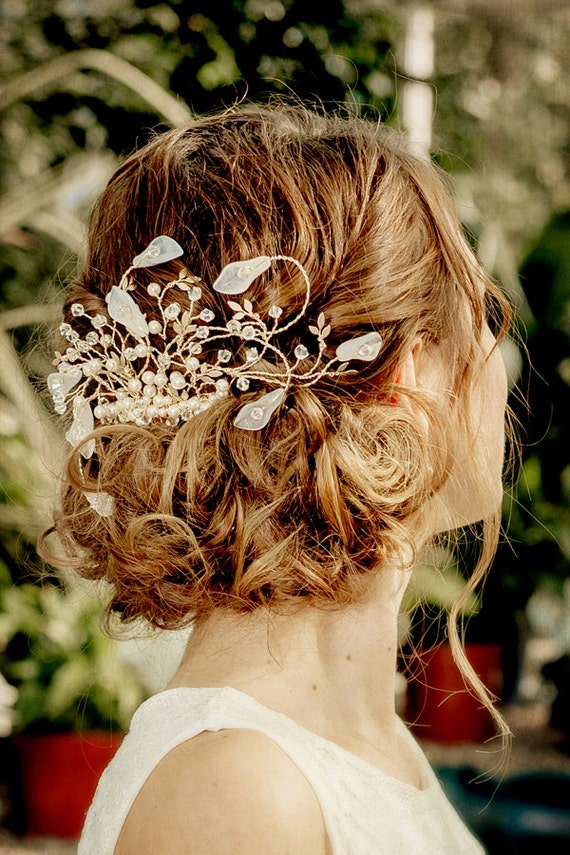 WEDDING  Bridal hair comb, CARISSA with pearls crystals and semi precious stones, made to order, Calla lily, SWAROVSKI