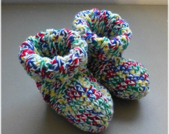 Crochet Bed Socks Booties Slippers Mixed Colors  Size 6 7