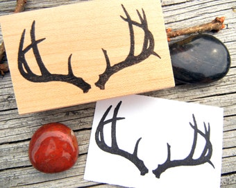 Buck Deer Antler Rubber Stamp  - Handmade by Blossom Stamps