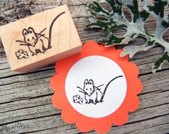 Mouse and Cheese Beatrix Potter Rubber Stamp - Handmade by BlossomStamps
