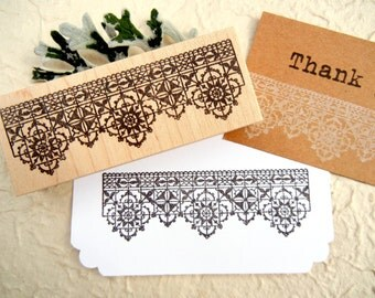 Antique Lace Border Rubber Stamp  - by BlossomStamps