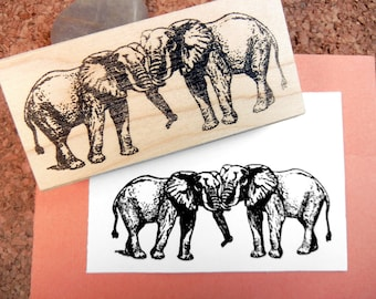 SALE Double Elephant Rubber Stamp Wedding Love Heart Valentine - Handmade Rubber Stamp
