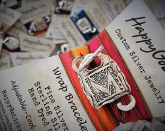 Yoga Jewelry, Yoga Bracelet, Wrap Bracelet, Silk Wrap Bracelet, Yoga Silk Wrap Bracelet, Monogram Bracelet, Yoga Monogram Bracelet, Monogram