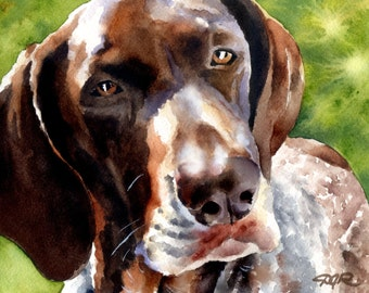 German Short Haired Pointer Art Print Signed by Artist DJ Rogers