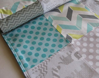 Aqua Zoo Patchwork Baby Quilted Blanket - Animals, Polka Dots, Citron, Gray, Aqua Blue, Nursery, Decor