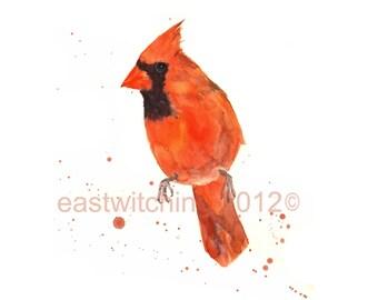 Cardinal Watercolor Print, whimsical bird art, cardinals, cardinal fan gift, 8x10 print, watercolor birds