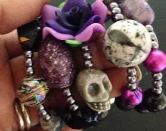 Radiant Orchid Crystals-Pearl Beads Adorn this Lovely Day of the Dead Design-Where Every Design Tells A Story