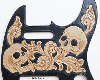 Desert Skullz Leather Telecaster Pickguard