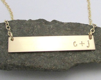 Personalized Gold Bar Necklace   Initial Plate Necklace   Engraved Personalized Gold Initial Jewelry by E. Ria Designs
