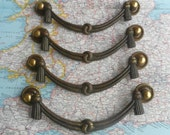 SALE! 4 vintage wide ornate brass metal bail pull handles with round end pieces