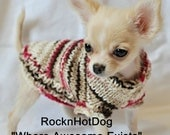 Hand Knit Chocolate Cherry Chip Dog Sweater Chihuahua poodle  XXS XS Small