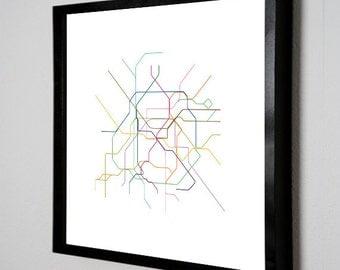 Paris Metro Map ( LINE ART ) - 24 x 24 PRINT