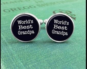 Grandpa Cufflinks, World's Best Grandpa Cufflinks, Gift for Grandpa, Gift from Granddaughter, Anniversary Gift, Going Away Gift, Cuff Links