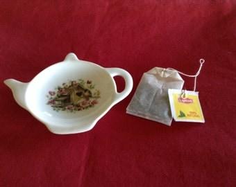 Ceramic Teabag Holder Bird House Porch 4.5