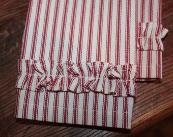 Red & White Ticking Stripe Ruffle Fingertip Guest Towels  - Set of 2, 100% Cotton, Super Gift!