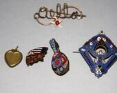 Antique Jewelry Lot Enamel Metal Brooch Micro  Mosaic  Mandalin Patriot Brooch Crystal Star Brooch Heart Locket Pendant