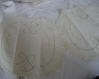 Set of 2 VINTAGE Embroidered Crochet Edge Scrap Doilies