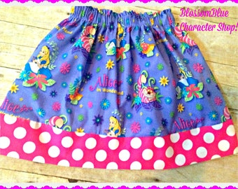 Girls alice in wonderland skirt 2t 3t 4t 4/5 6/6x 7/8 10/12 Ready to Ship