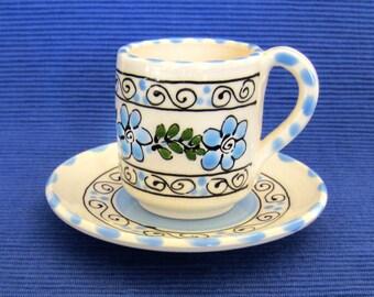 Light Blue Espresso Cup and Saucer