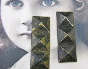 Hand Oxidized Patina Geometric Pyramid Stamping Drops 526HOX x2