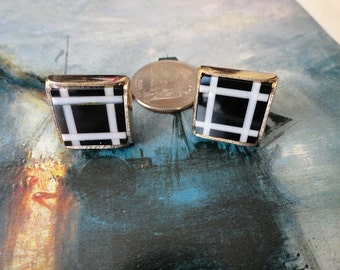 Vintage Black and White Glass  Cufflinks