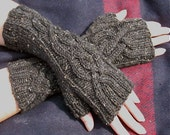 Tweed Cables   Cable Knit Fingerless Gloves in Charcoal Gray Tweed Peruvian Wool - Womens Mittens, Arm Warmers - Ready to Ship