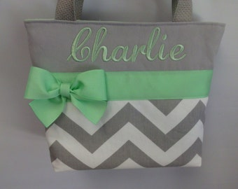 Gray CHEVRON Child Size  Bag.. .  GIRL  Purse ... MINT ...  Monogrammed  FReE