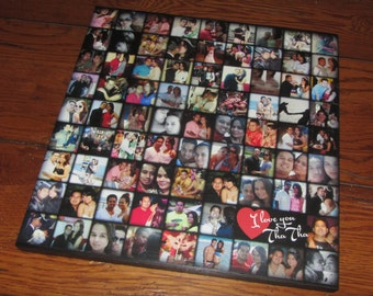 """Instagram or SELFIES- 80 picture collage- Personalized PHOTO Giclee MOUNTED prints- custom made- 13"""" x 13"""""""
