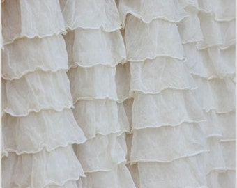 Ruffle Bed Skirt, Cream, Dust Ruffle, Queen, King, Twin, Full - Cream Ruffled Crib Skirt - Cottage Chic Bedding - Ivory Ruffle Crib Skirt