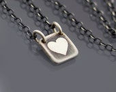 Tiny Square Sterling Silver Heart