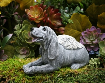 Dog Angel Statue   Hound Dog   Coonhound   Hunting Dog Concrete Memorial