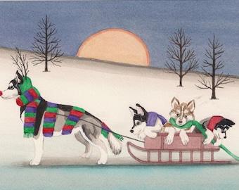 12 Christmas cards: Siberian husky family takes holiday sled ride / Lynch folk art