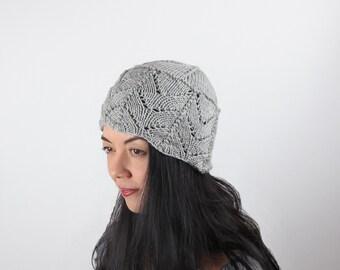 Cloche Hat Merino Wool Dove Grey Lace Hand Knit Woman's Grey Knit Hat