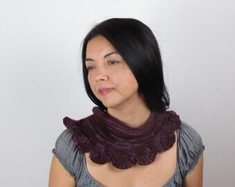 Scarf Purple Merino Wool Burgundy Wine Hand Knit Women's Purple Scarf