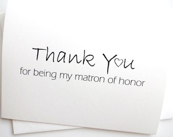 Matron of Honor Wedding Thank You Card with heart