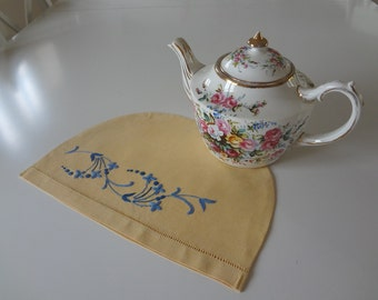 Vintage Tea Cozy Cosy Blue Flower Hand Embroidered on Yellow Linen - EnglishPreserves