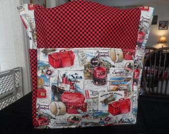 travel europe red black checker  large tote bag/purse/diaper bag