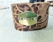 dream - Hand Stamped Leather Cuff Bracelet
