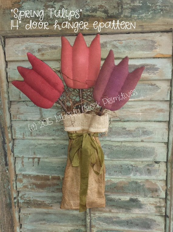 items similar to spring easter tulips flowers primitive