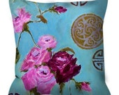 Decorative throw pillow pink aqua roses asian chinoiserie