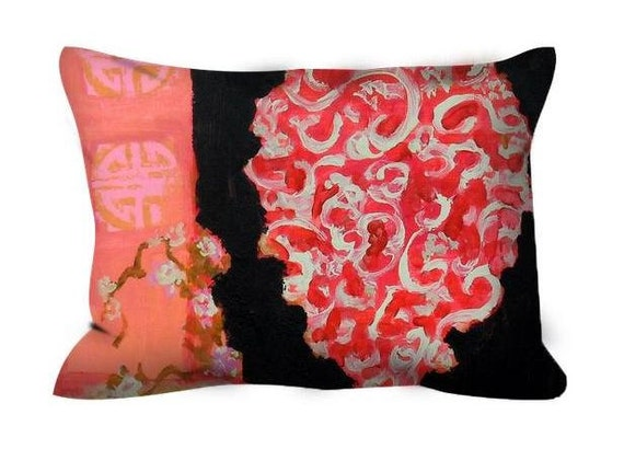 Pink And Black Decorative Pillows : Decorative throw pillow black pink orange india asia