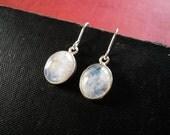 Moonstone Earrings in Sterling Silver - Dainty Everyday Rainbow Moonstone and Silver Drop Oval Earrings